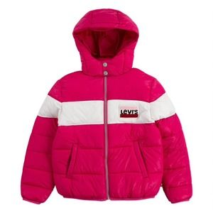 Levi's Girl's Colorblock Logo Hooded Puffer Jacket